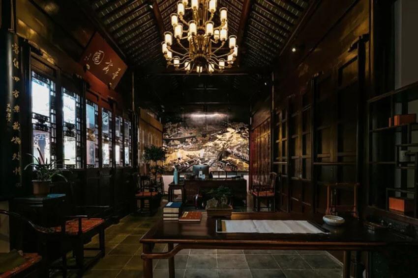 苏州墨客园园林中式酒店灯具定制照明设计
