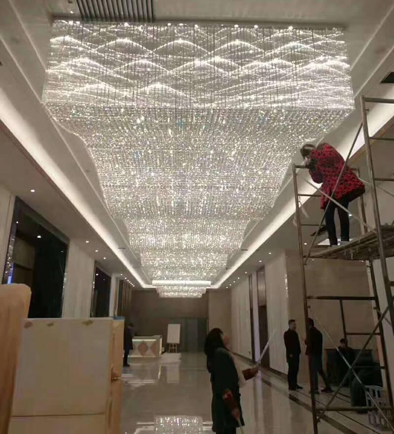 大型走廊水晶吸顶灯定制