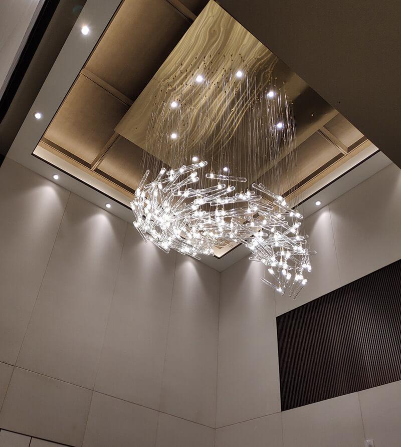 别墅样板房水晶灯_LED玻璃管吊灯定制