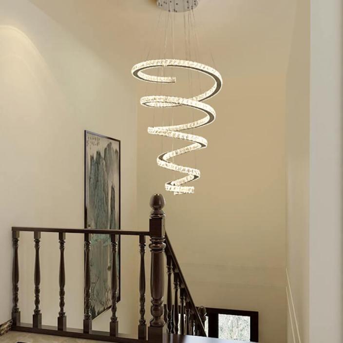 别墅大厅螺旋形吊灯定制