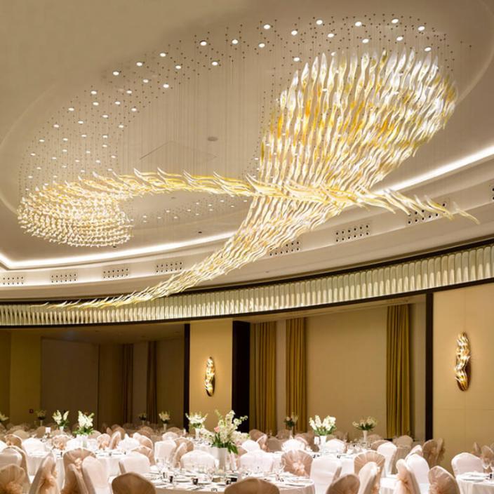 五星级酒店多功能宴会厅水晶艺术吊灯定制