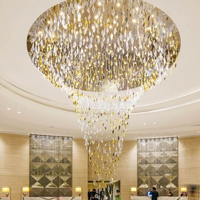 酒店高级包厢水晶吊线顶灯定制