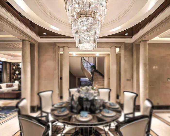 别墅大型餐厅水晶吊灯定制