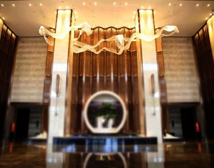 酒店前台水晶吊灯,酒店灯具厂家直供